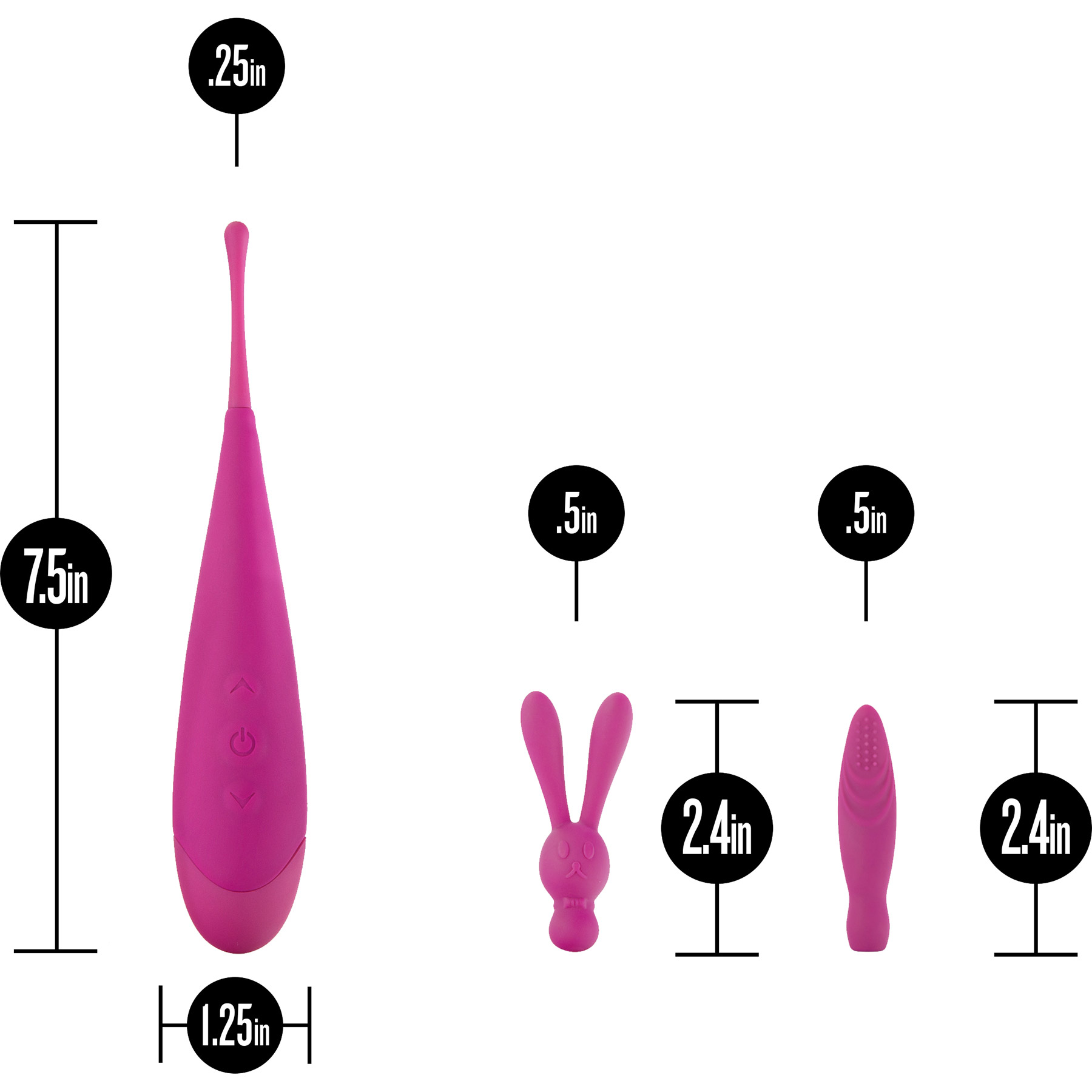 Noje Quiver Intensely Stimulating Clitoral Vibrator - Measurements