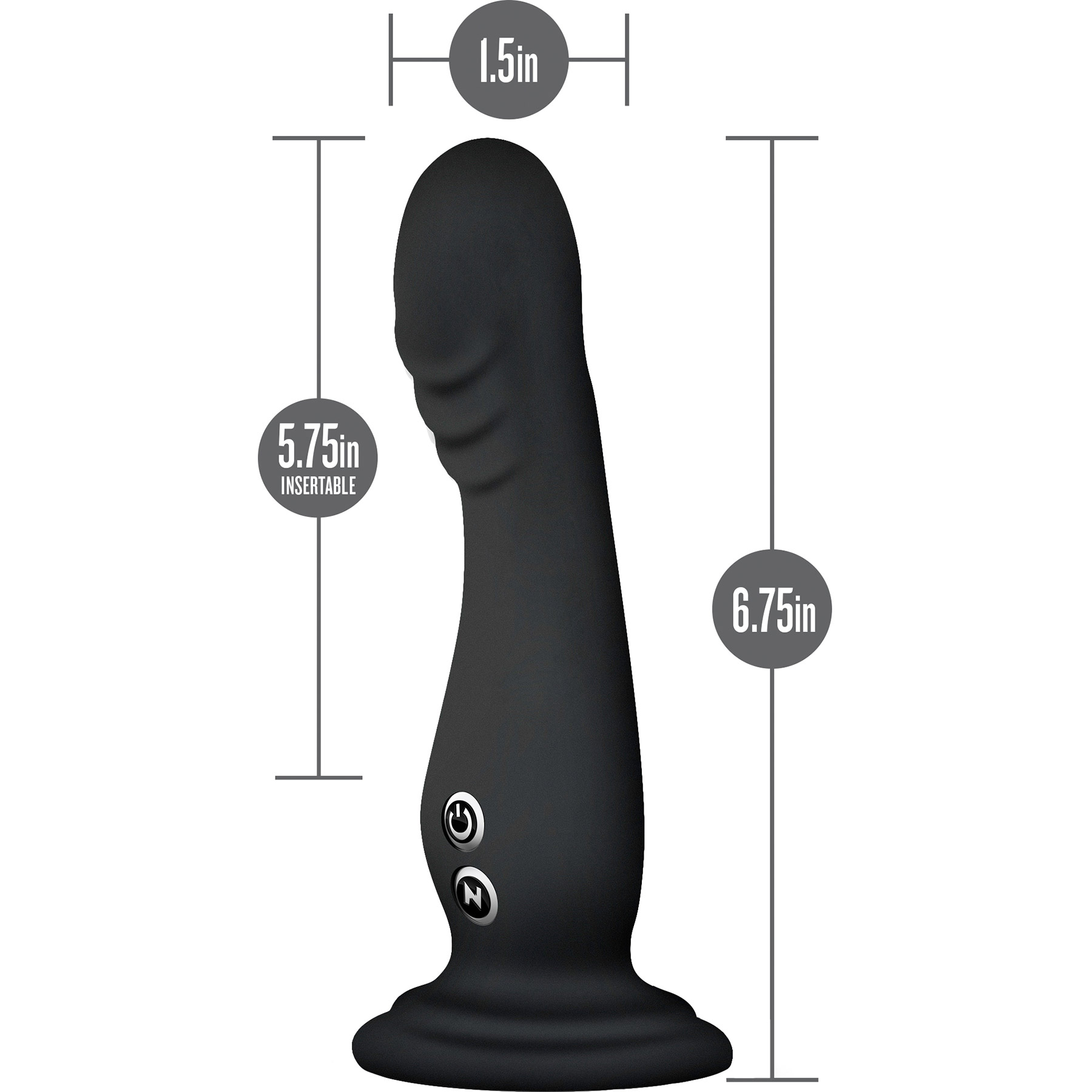 Impressions N1 Silicone Suction Cup G-Spot Vibrator - Measurements