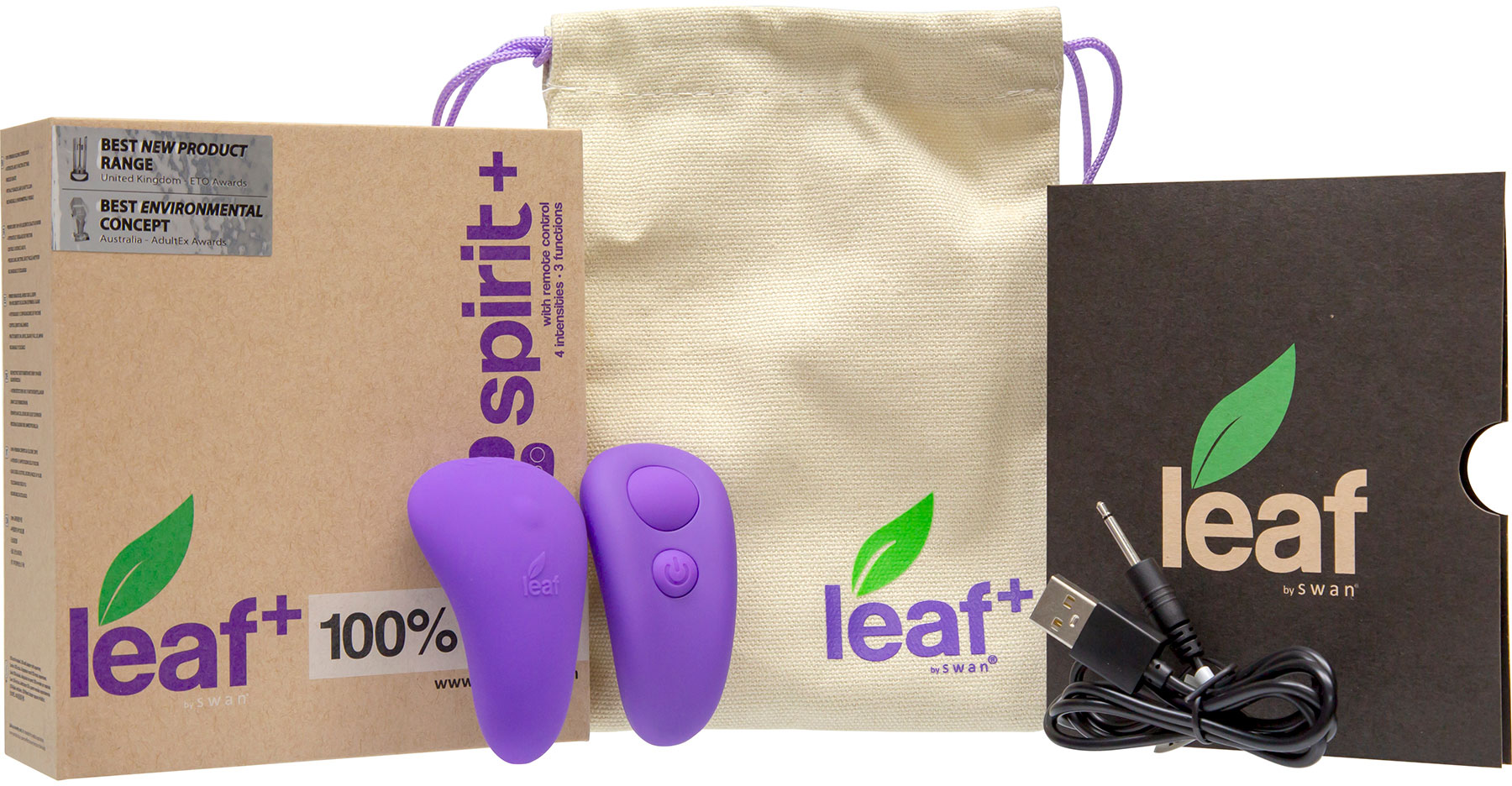 Leaf Spirit+ Rechargeable Remote Control Silicone Panty Vibrator - Contents