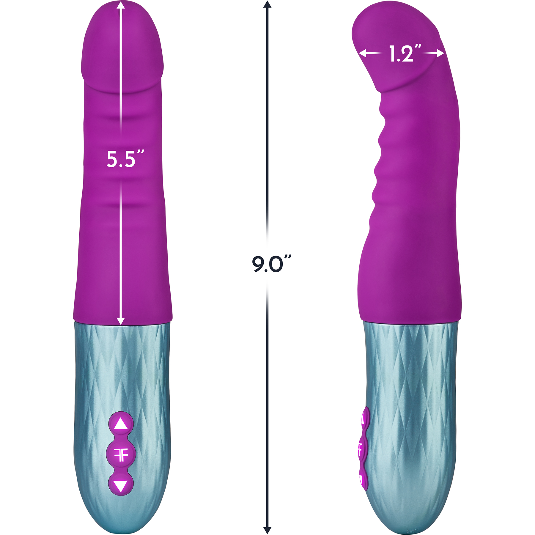 Cadenza Rechargeable Silicone Thrusting Dildo By FemmeFunn - Measurements