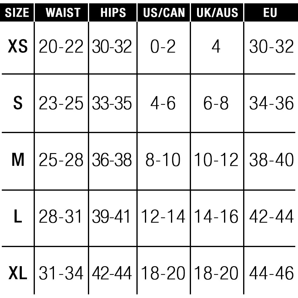 EM.EX. Active Harness Wear Size Chart