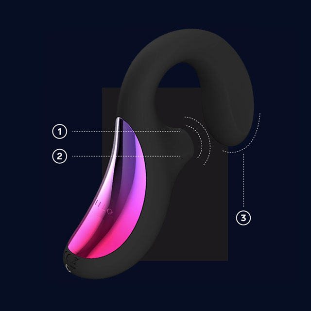 LELO ENIGMA Rechargeable Silicone Dual Stimulation Pressure Wave Vibrator - Graphic Display Of Features