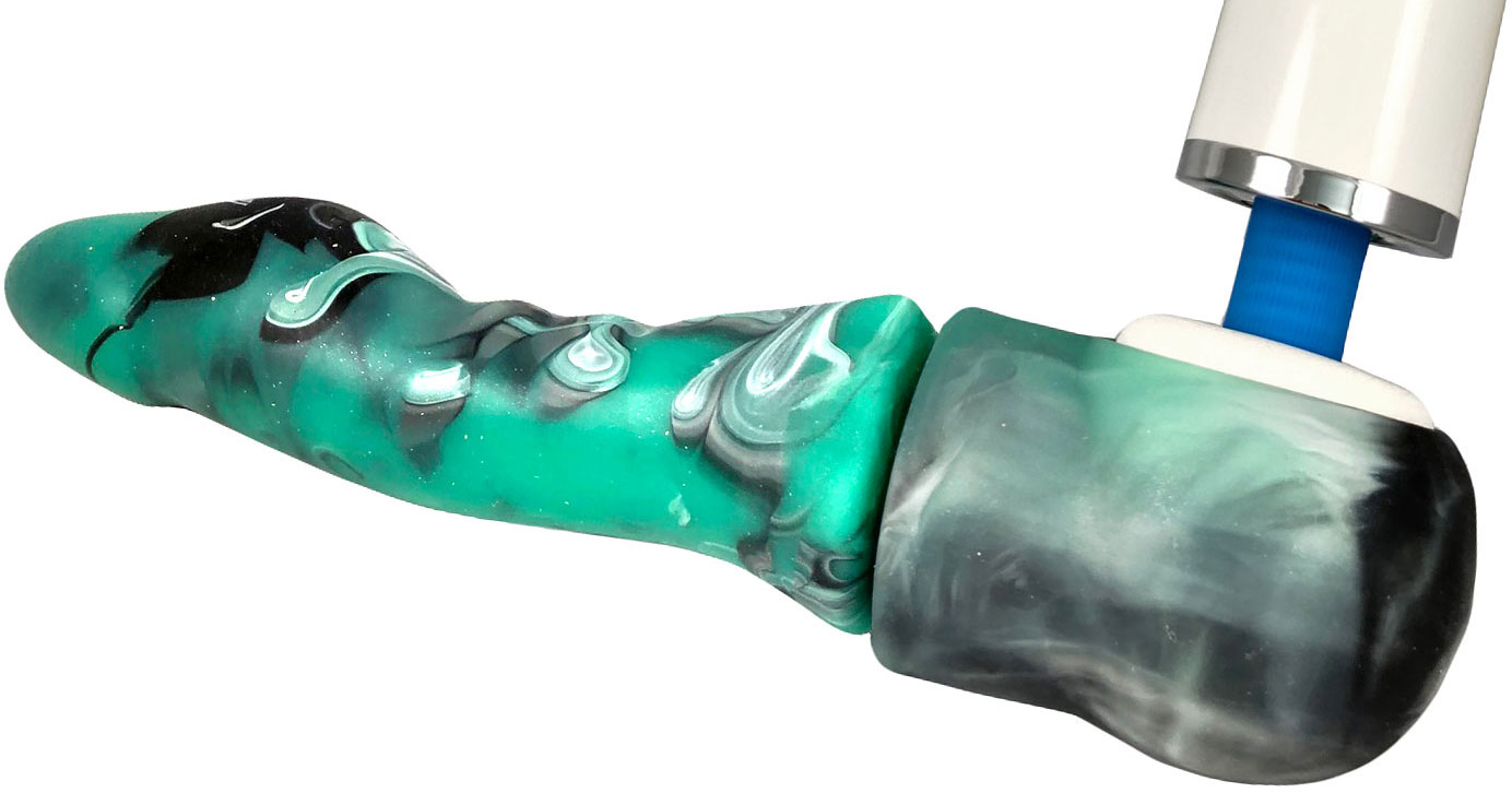 Jollet Green Lantern Magic Wand Compatible Silicone G-Spot Dildo - With Magic Wand
