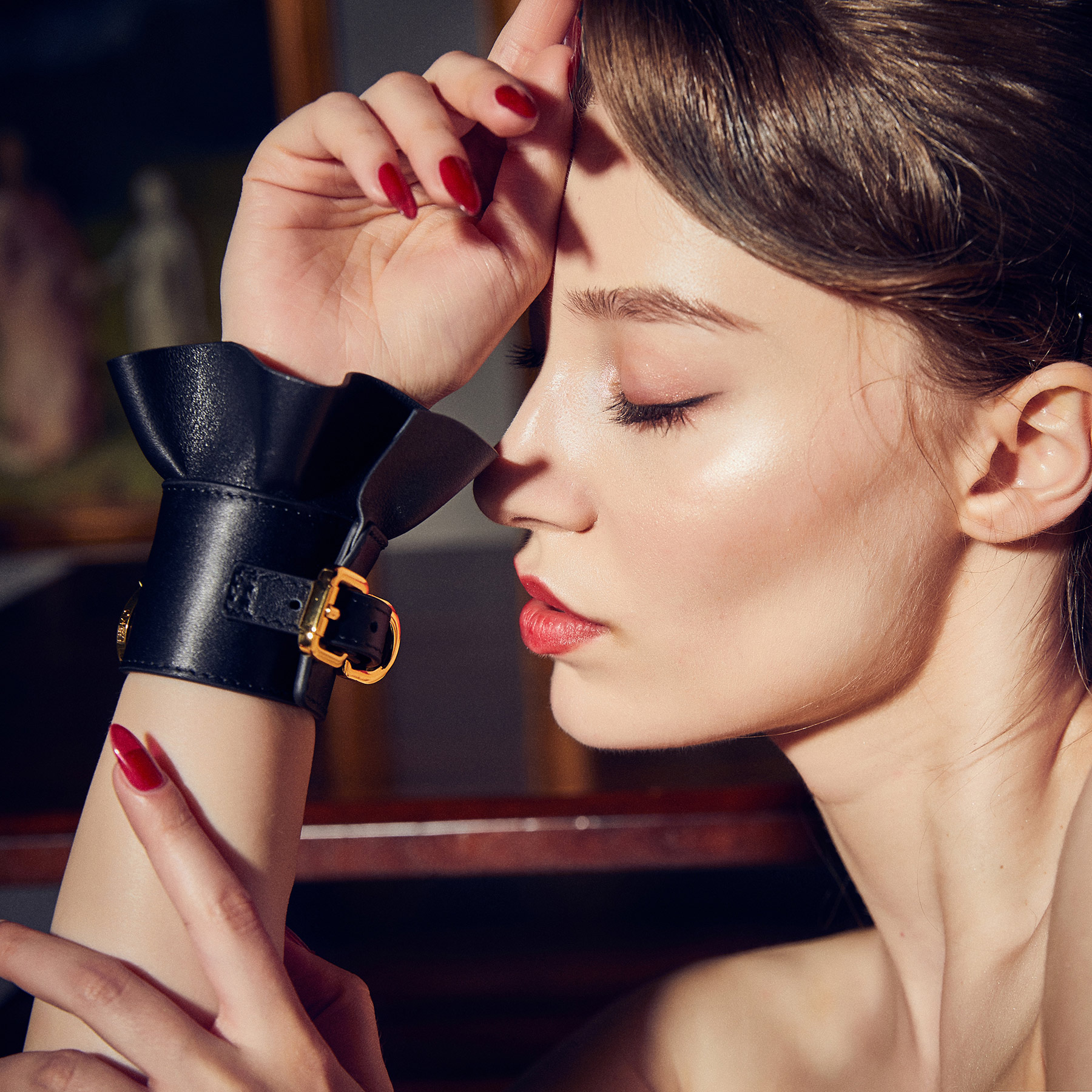 ZALO & UPKO Doll Designer Collection Leather Lace-Like Handcuffs Displayed On Model 2