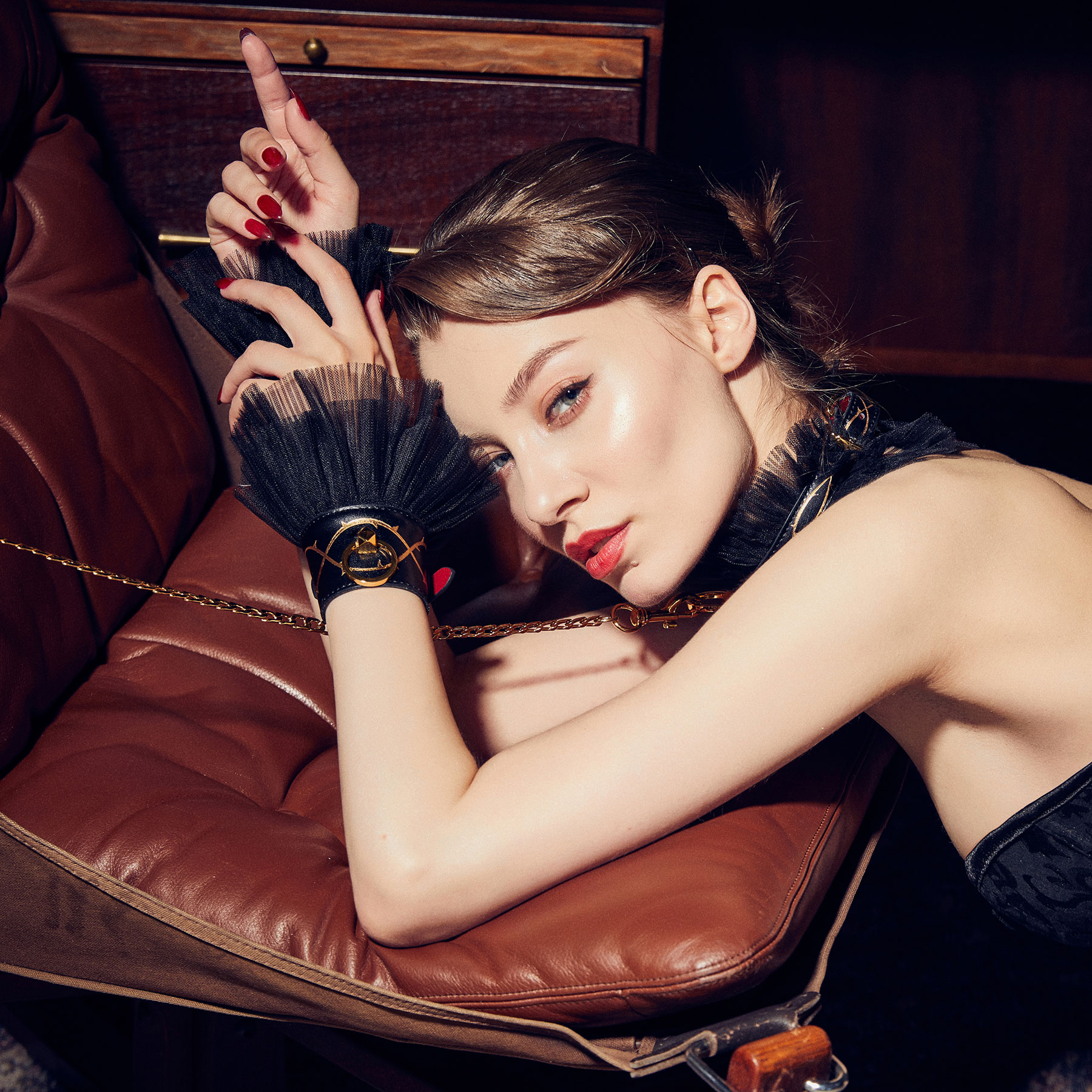 ZALO & UPKO Doll Designer Collection Leather Thorn Handcuffs Displayed On Model 3