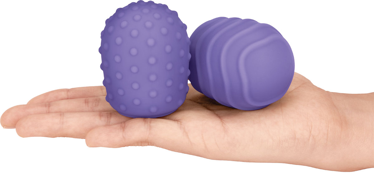 Le Wand Petite Silicone Texture Covers - Pictured In Hand