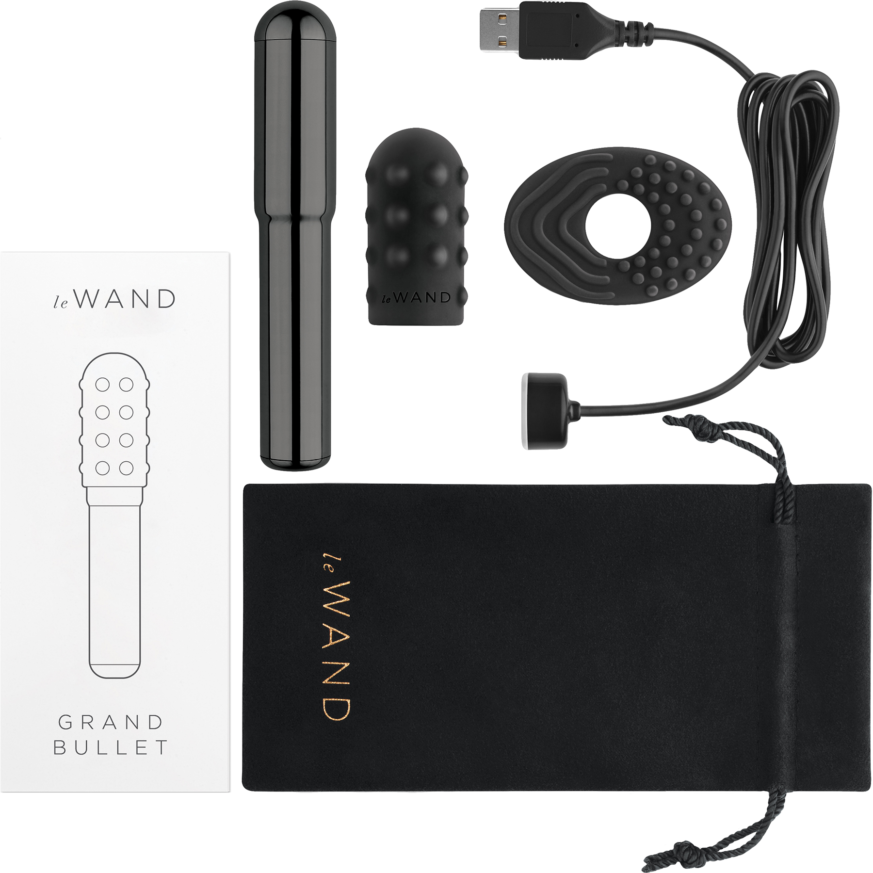 Le Wand Grand Bullet Powerful Waterproof Rechargeable Vibrator - Box Contents