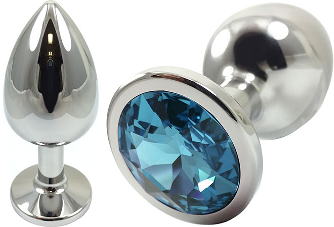 Pretty Plugs Blue Crystal And Stainless Steel Anal Toy - Medium