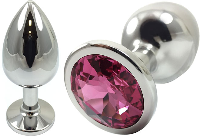 Pretty Plugs Fuchsia Crystal And Stainless Steel Anal Toy - Medium