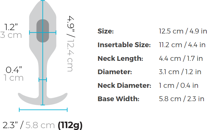 b-Vibe Vibrating Snug Plug 2 Rechargeable Vibrating Anal Toy - Measurements