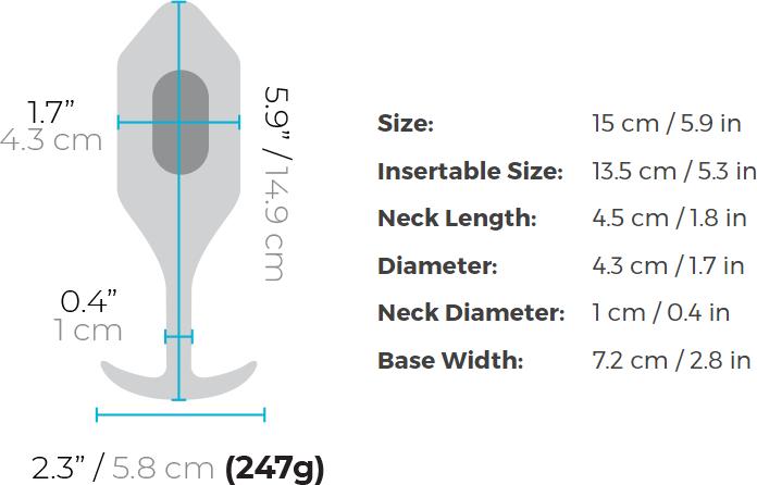 b-Vibe Vibrating Snug Plug Rechargeable Vibrating Anal Toy - Measurements