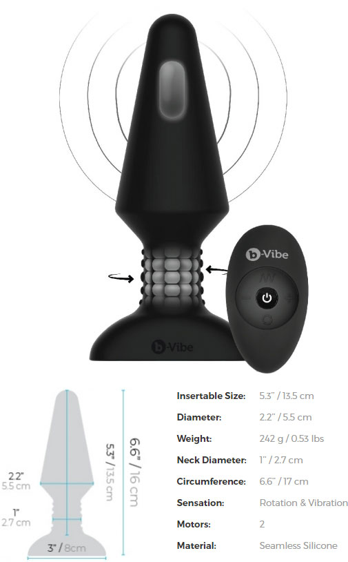 b-Vibe Rimming Plug XL - Measurements
