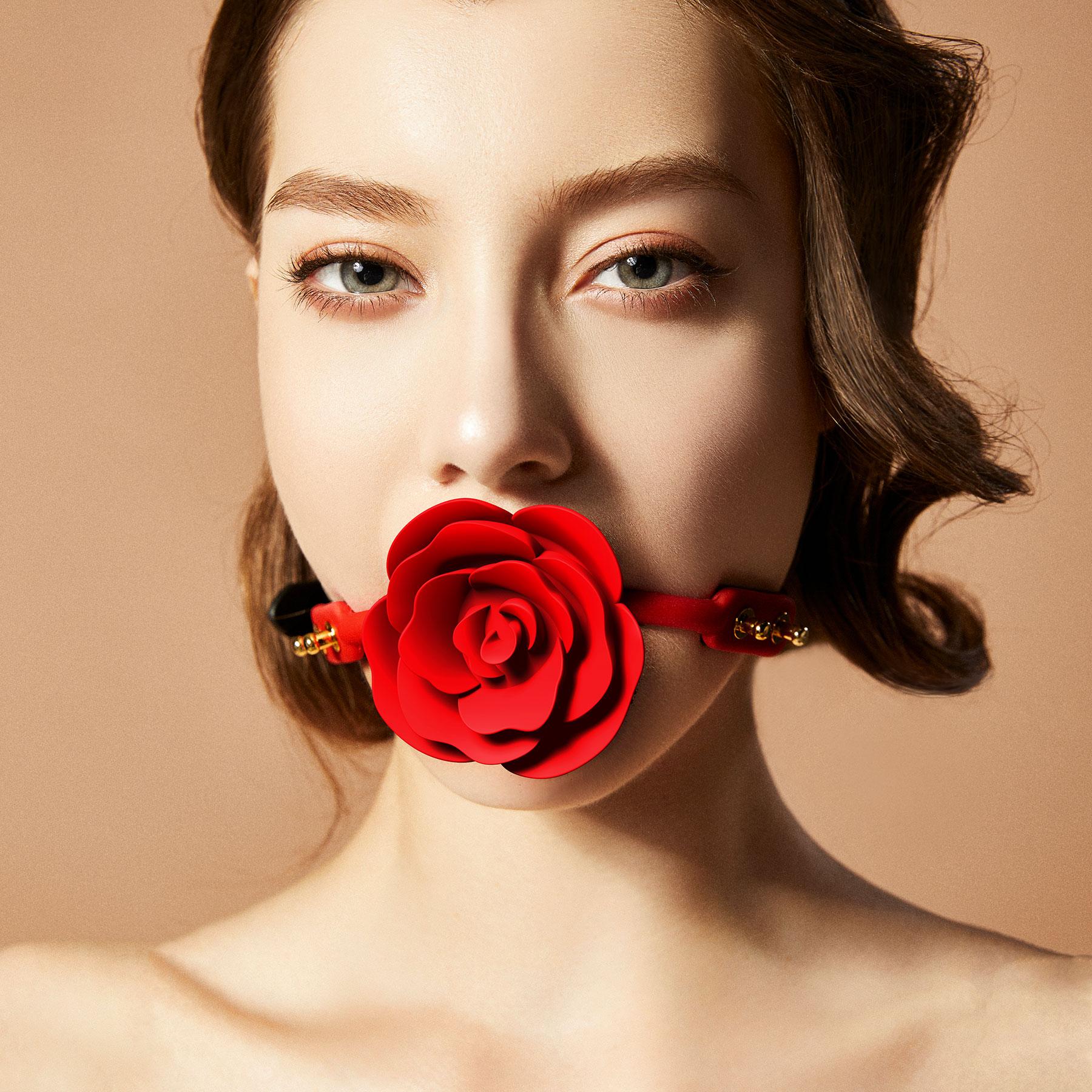 ZALO & UPKO Doll Designer Collection Silicone Rose Ball Gag Displayed On Model