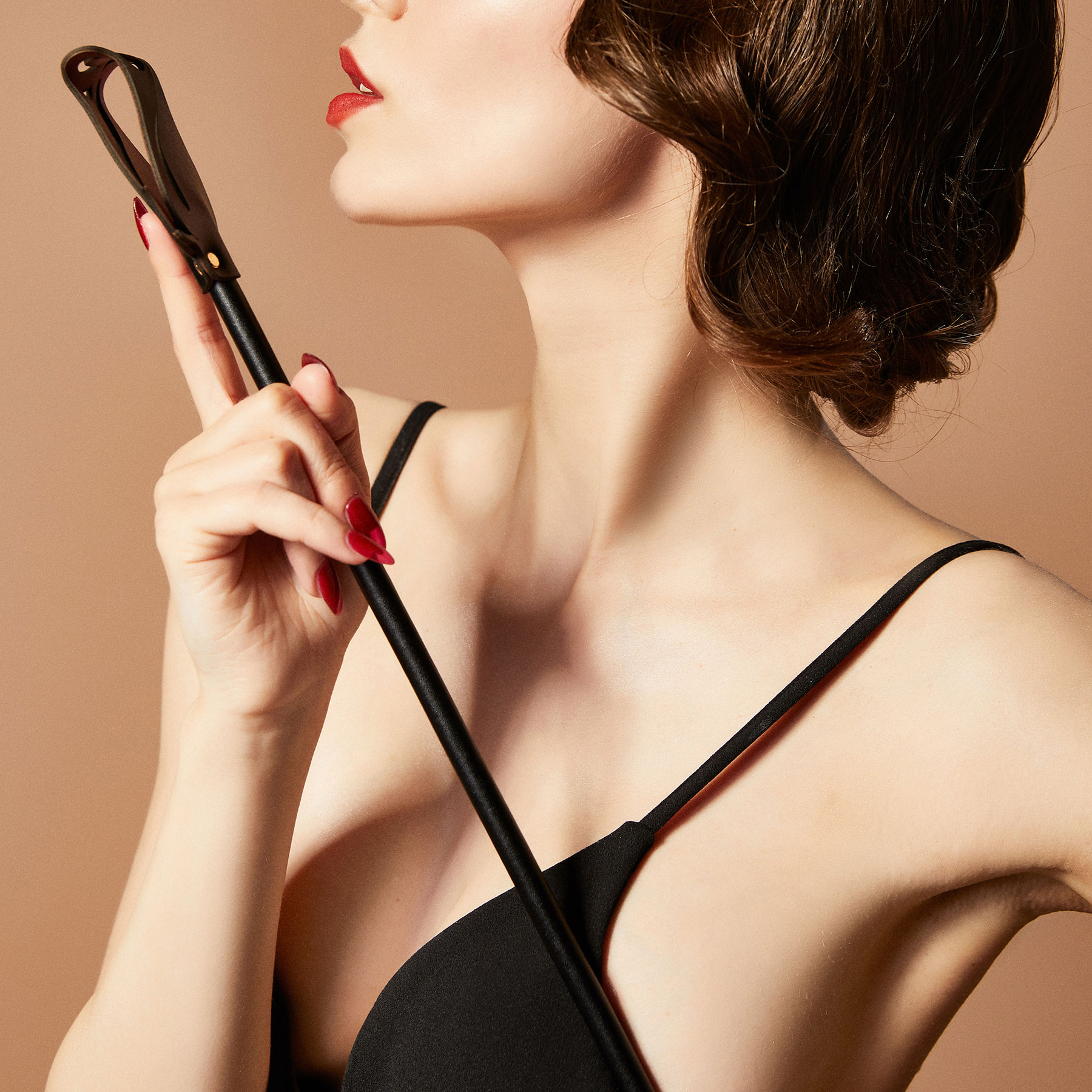 ZALO & UPKO Doll Designer Collection Leather Rose Riding Crop Displayed With Model