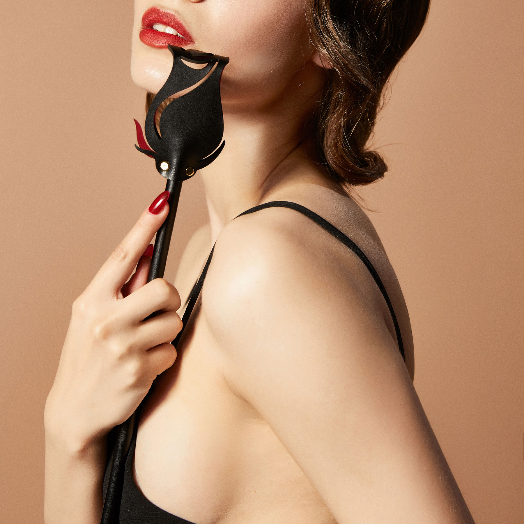 ZALO & UPKO Doll Designer Collection Leather Rose Riding Crop Displayed With Model 2