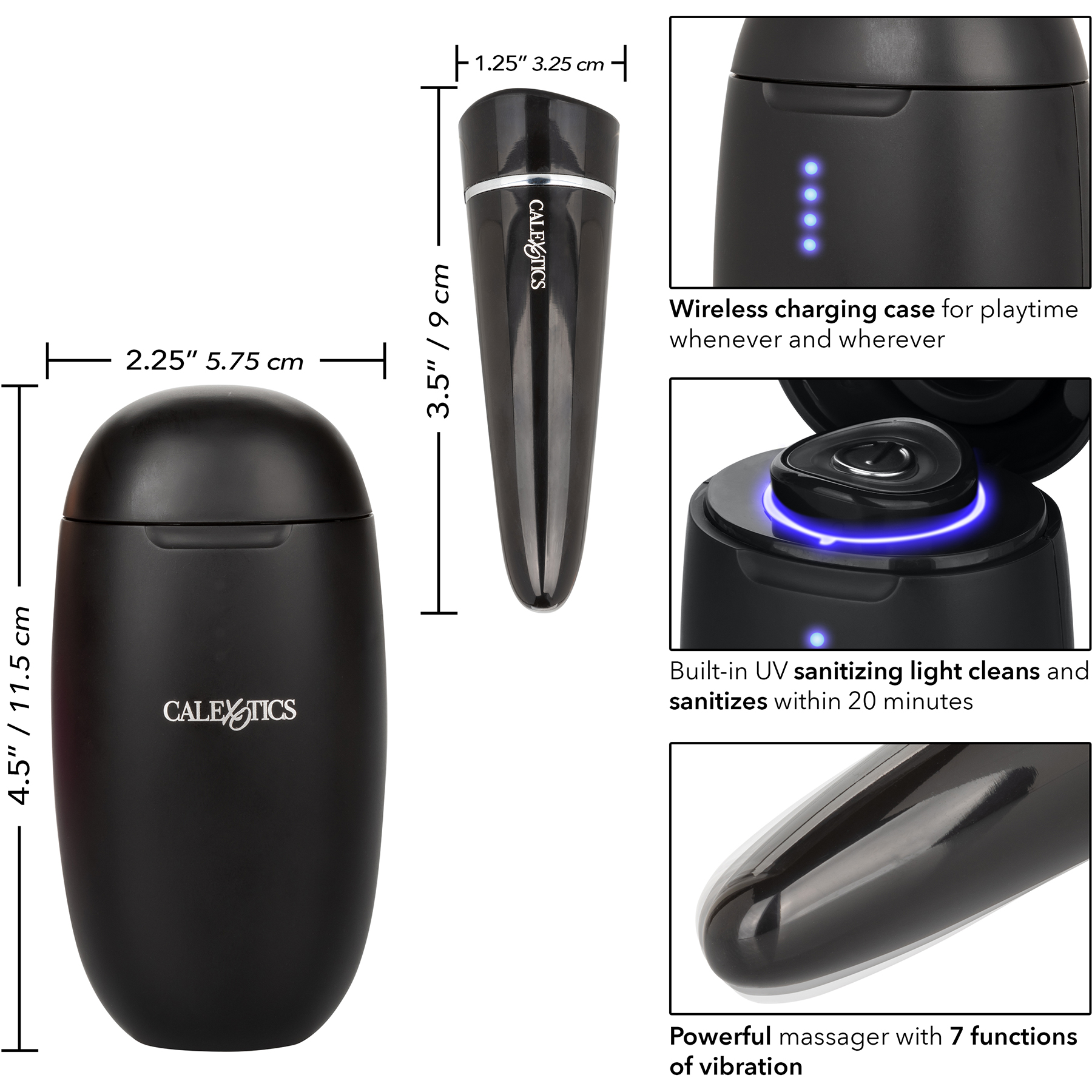 My Pod Rechargeable Bullet Vibrator With UV Sanitizing Charger - Measurements