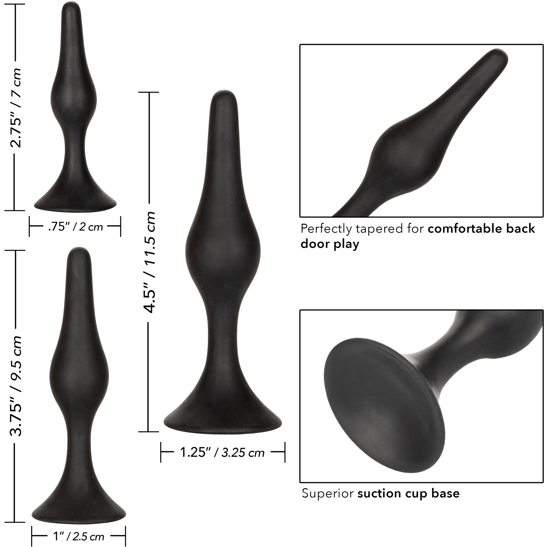 Three-Piece Silicone Anal Starter Kit - Measurements