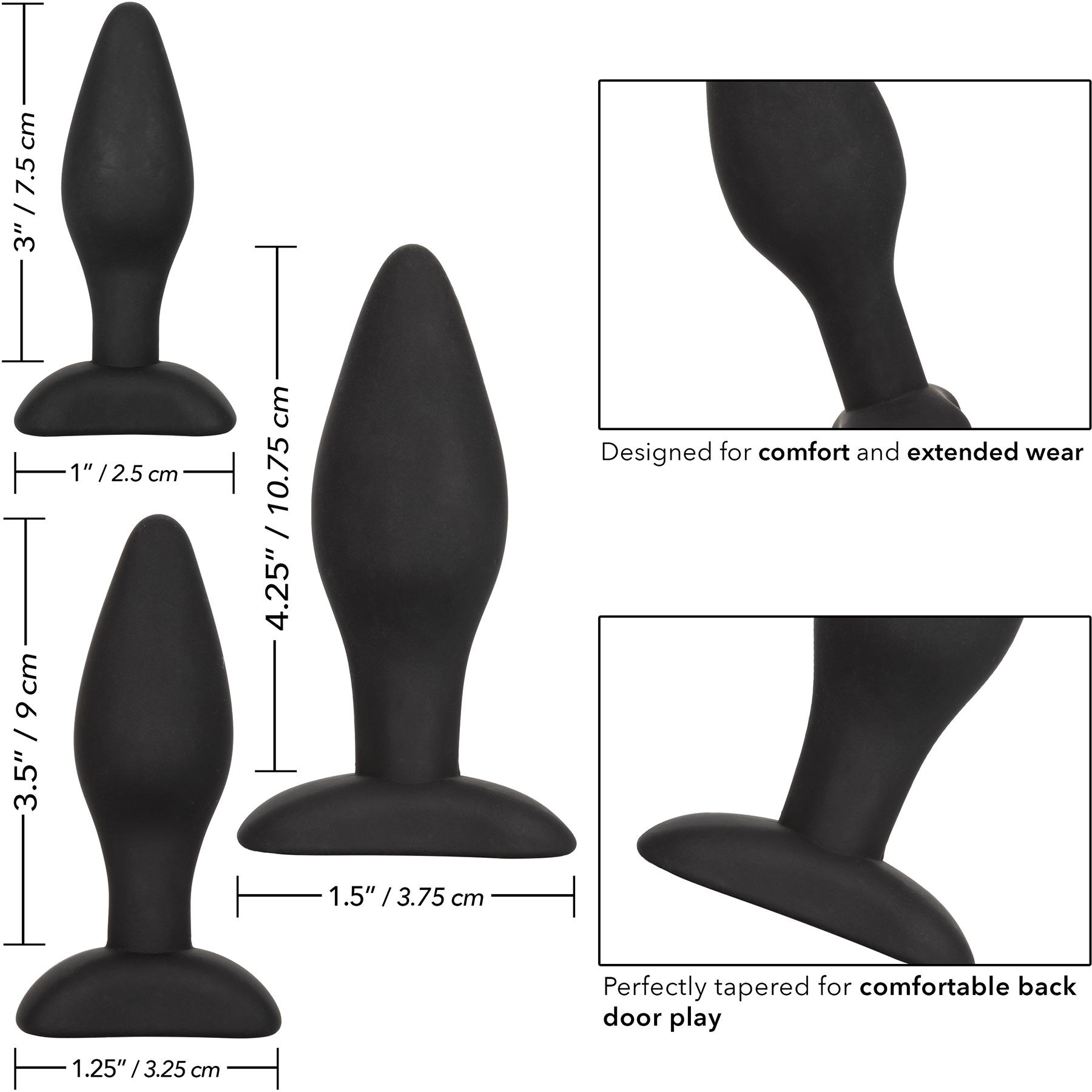 Silicone Anal Exerciser Kit With Three Plugs - Measurements