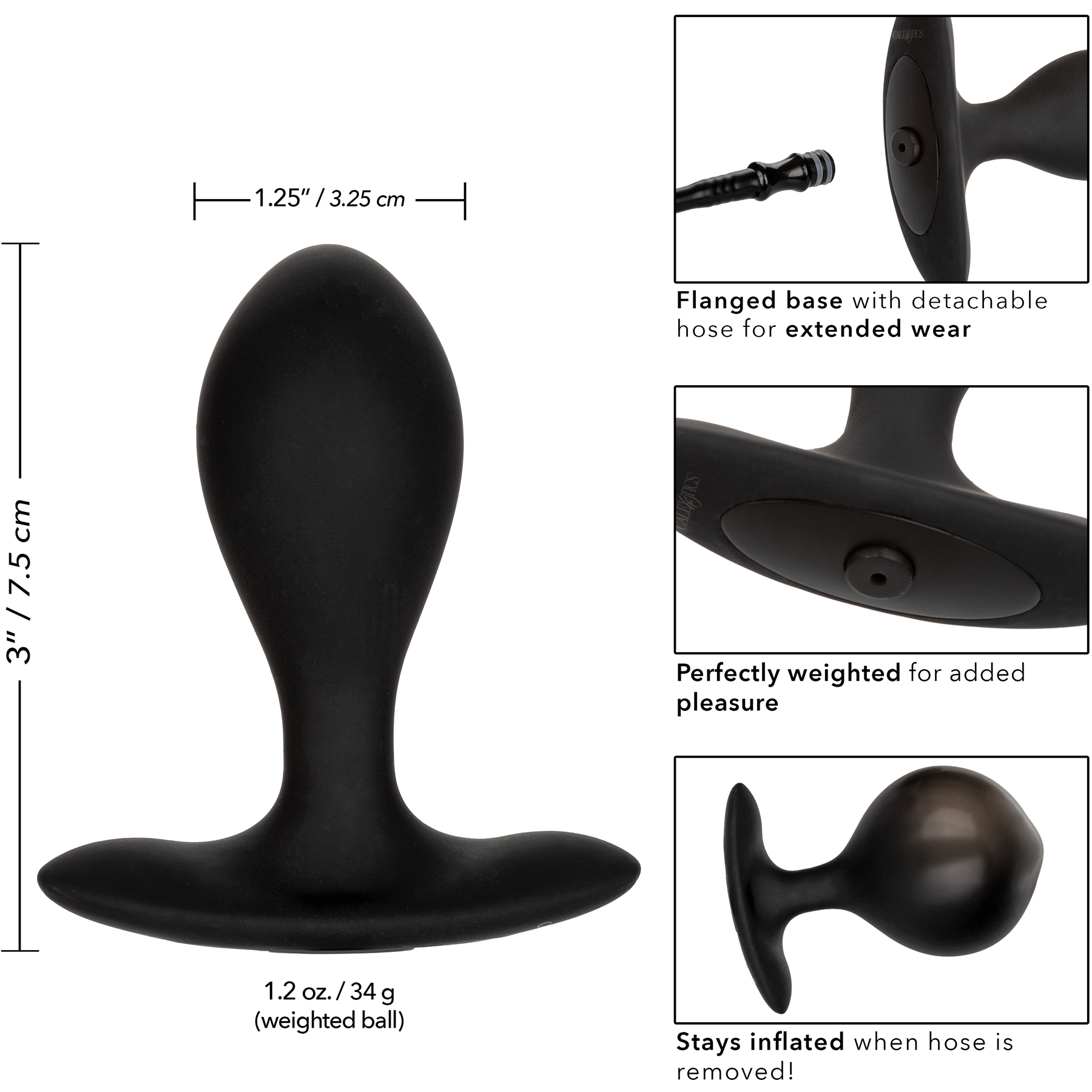 Weighted Silicone Inflatable Butt Plug By CalExotics - Large Measurements