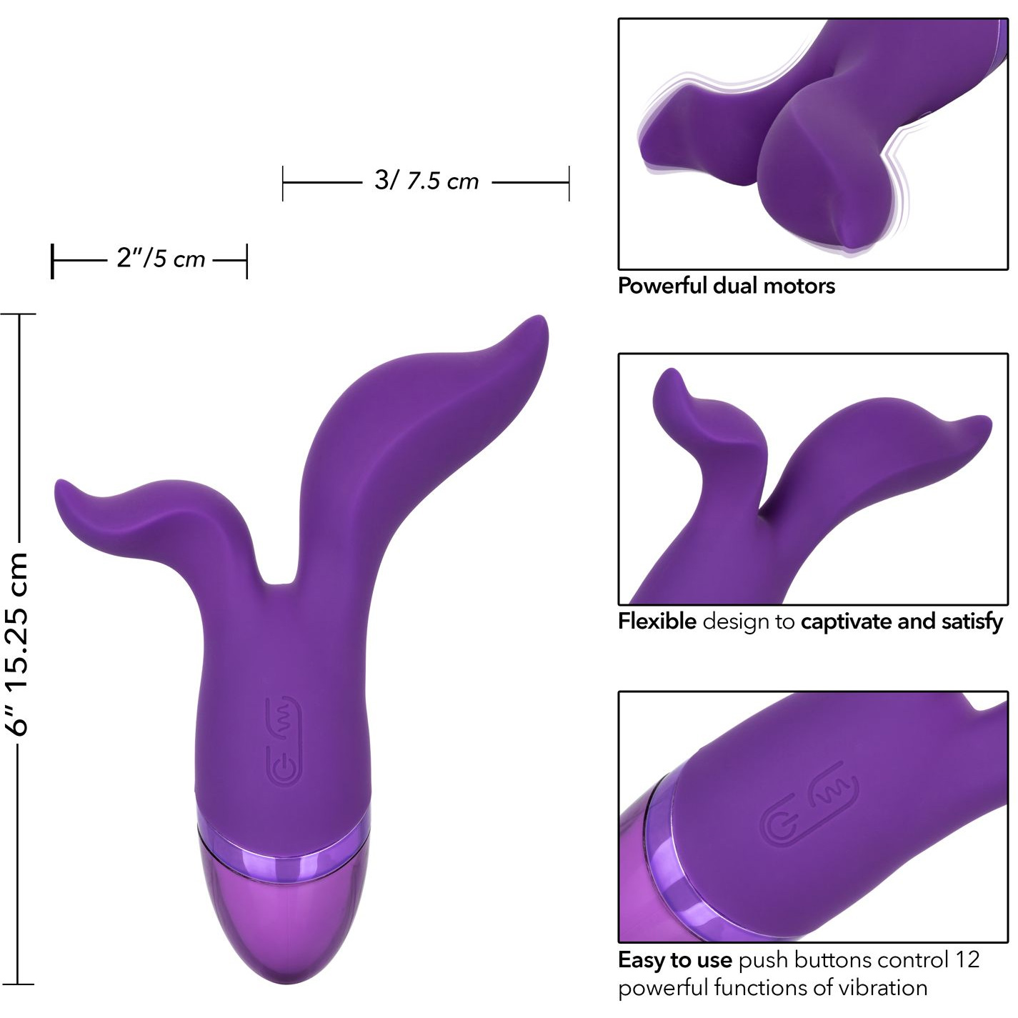 Aura Duo Silicone Rechargeable Dual Stimulation Vibrator - Measurements