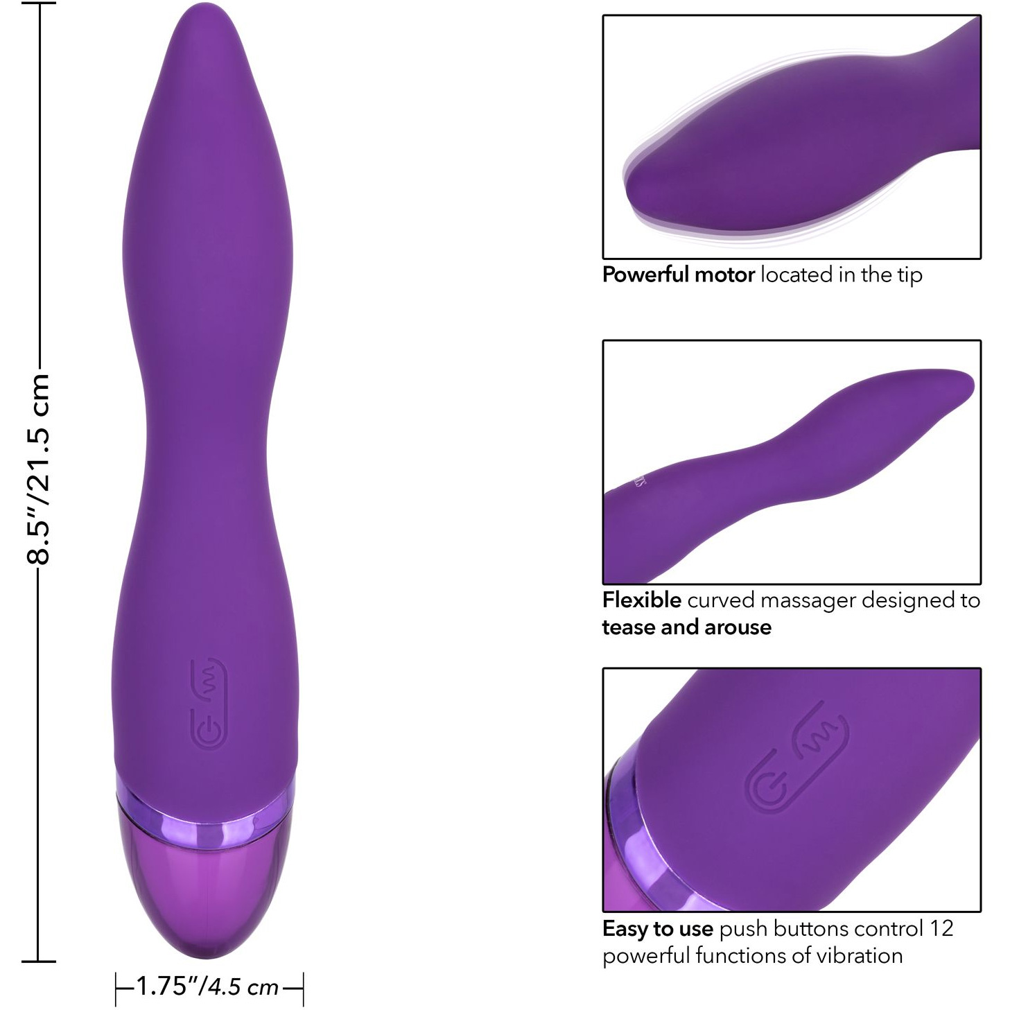 Aura Wand Silicone Rechargeable Waterproof Vibrator - Measurements