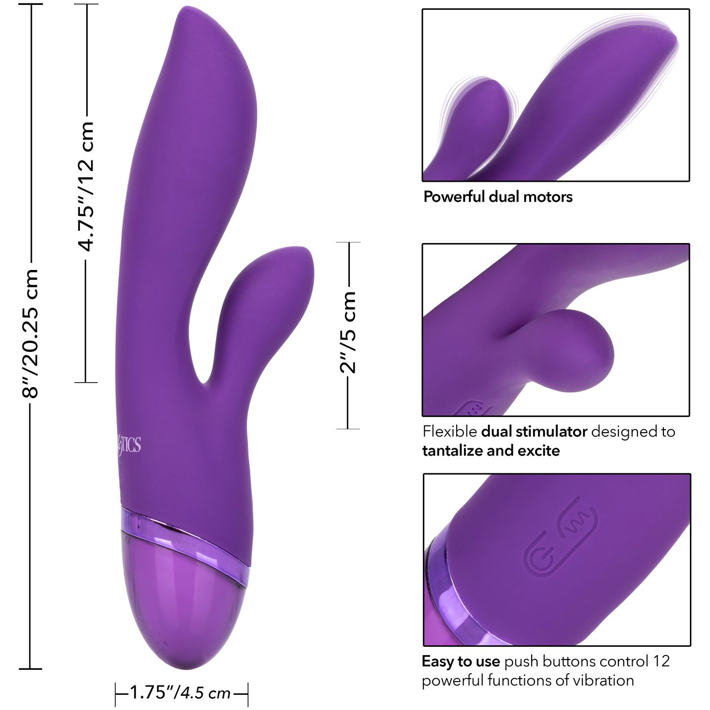Aura Dual Lover Silicone Rechargeable Waterproof Dual Stimulation Vibrator - Measurements