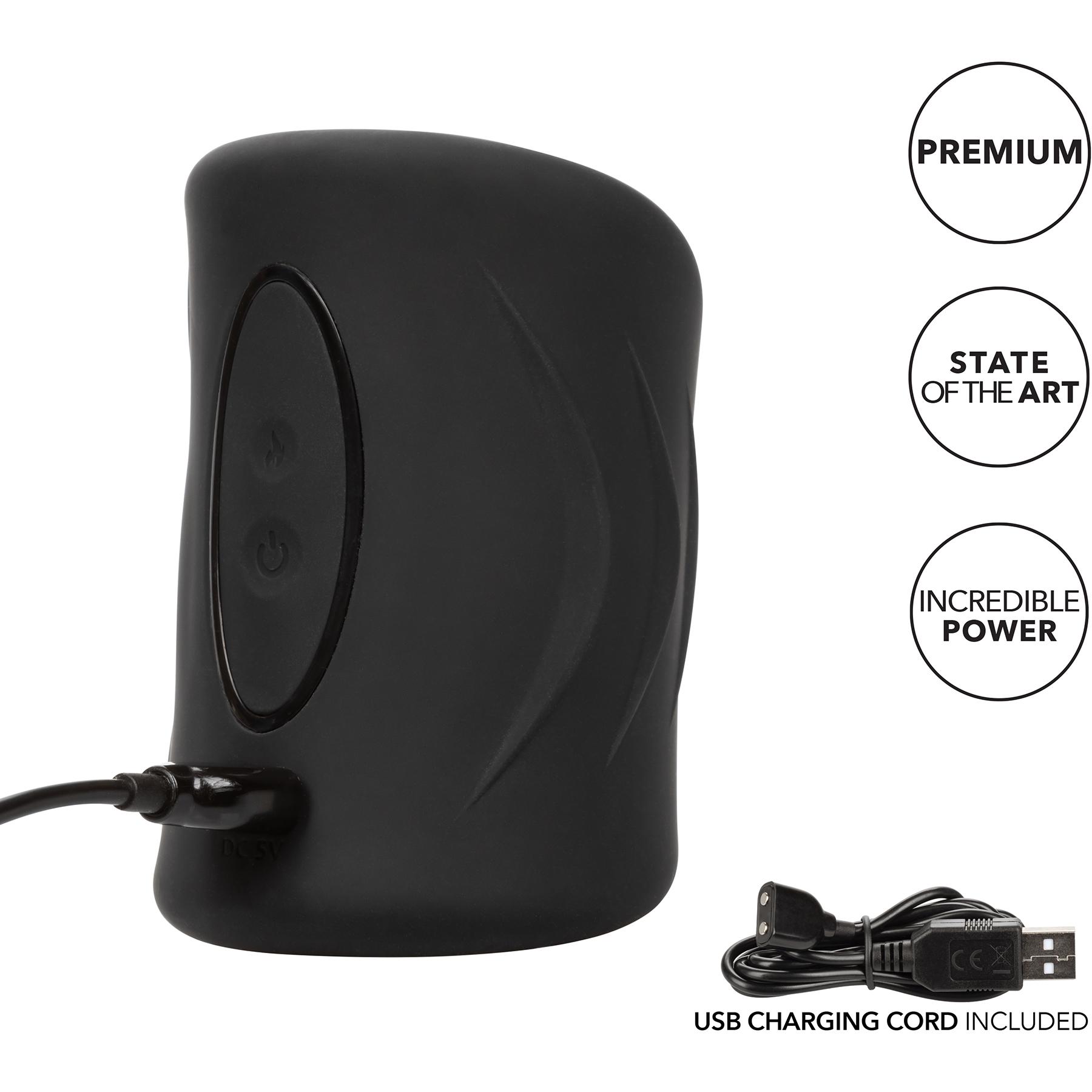 Optimum Power Pro Stroker Silicone Rechargeable Penis Masturbator - Charging