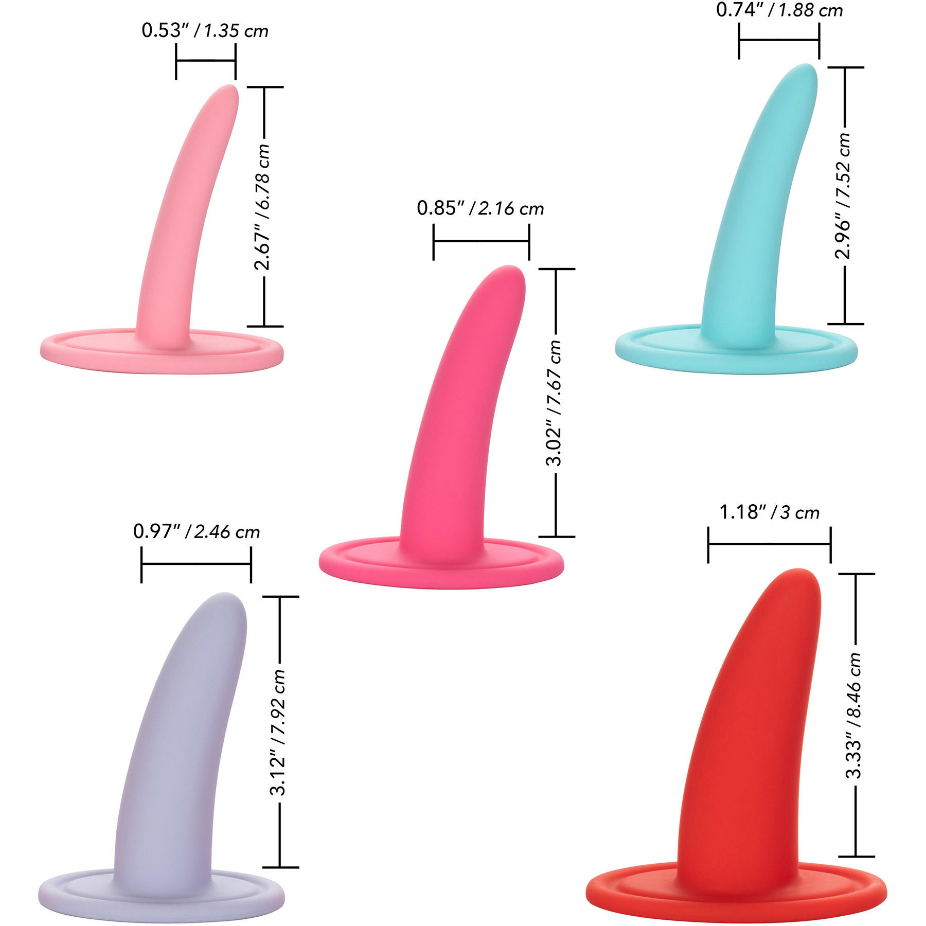 She-ology™ 5-Piece Wearable Vaginal Dilator Set - Measurements