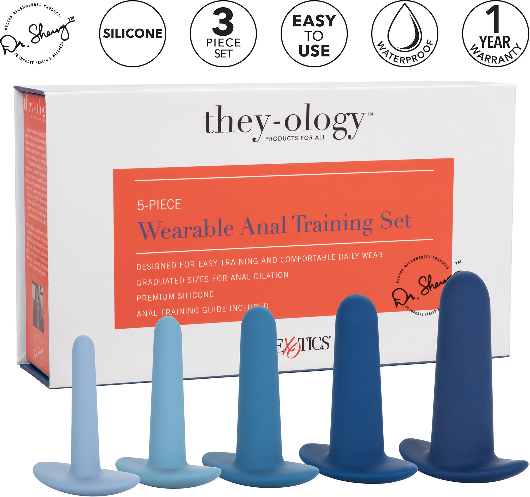 They-ology 5-Piece Wearable Silicone Anal Training Set - Features