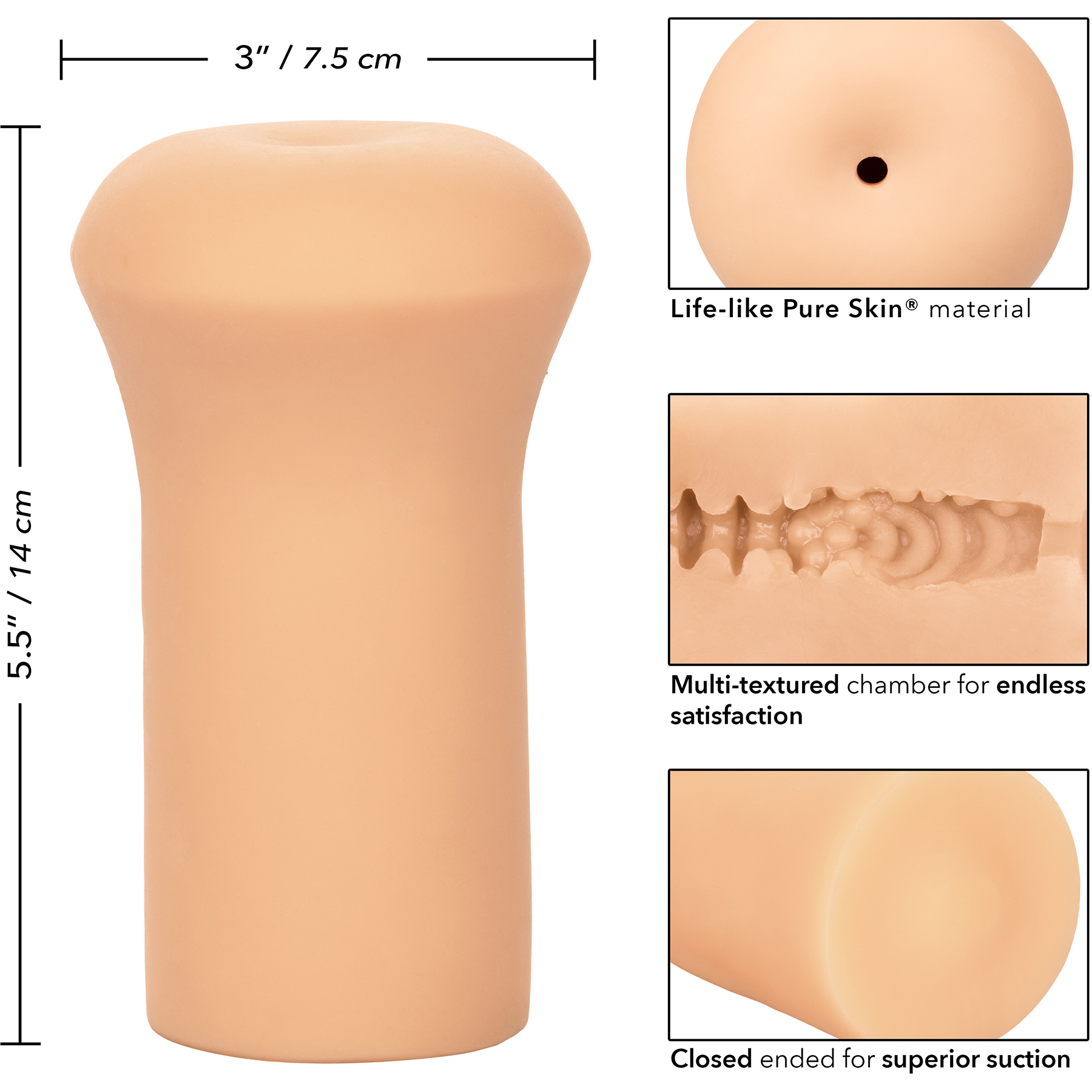 Boundless Stroker Penis Masturbator By CalExotics - Measurements