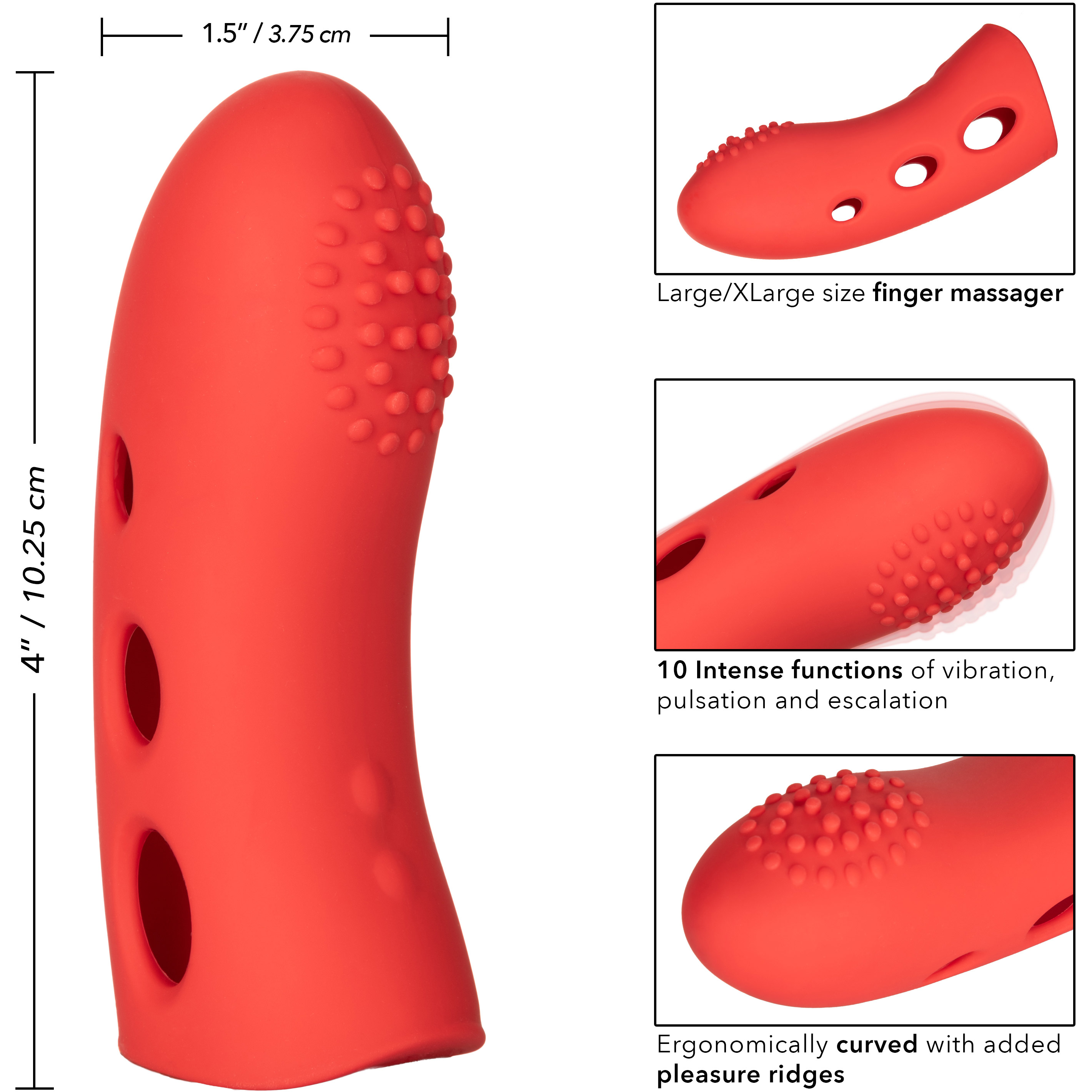 Mini Marvels Marvelous Arouser Silicone Rechargeable Waterproof Finger Vibrator - Measurements