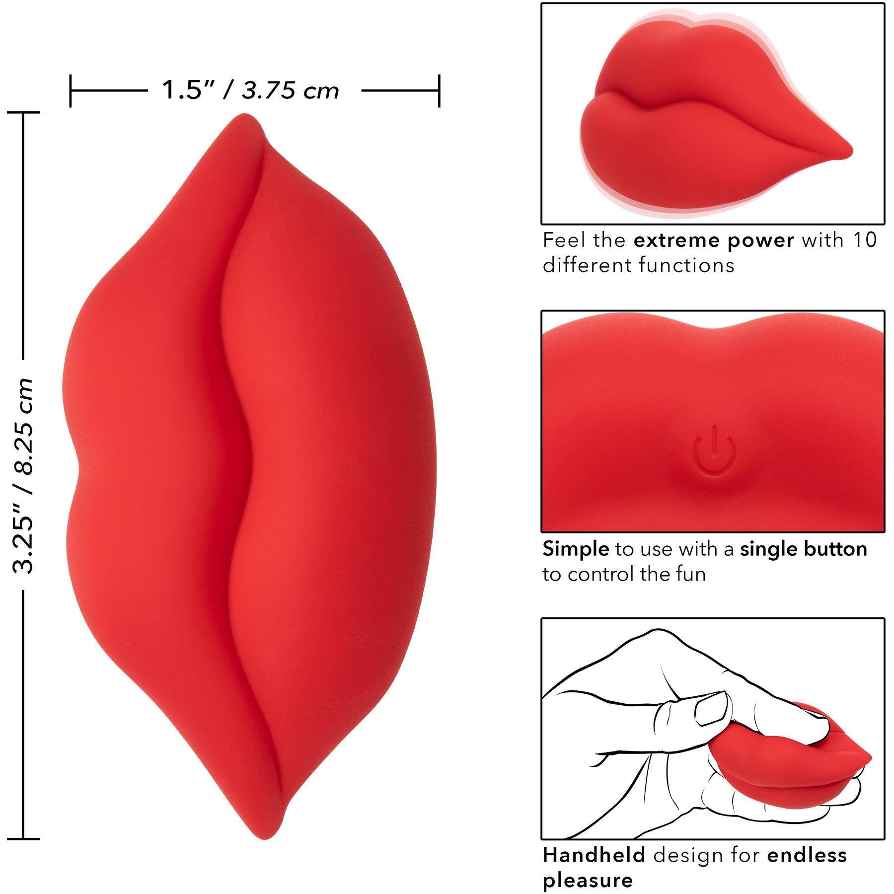 Naughty Bits Muah Silicone Rechargeable Mini Vibrator - Measurements