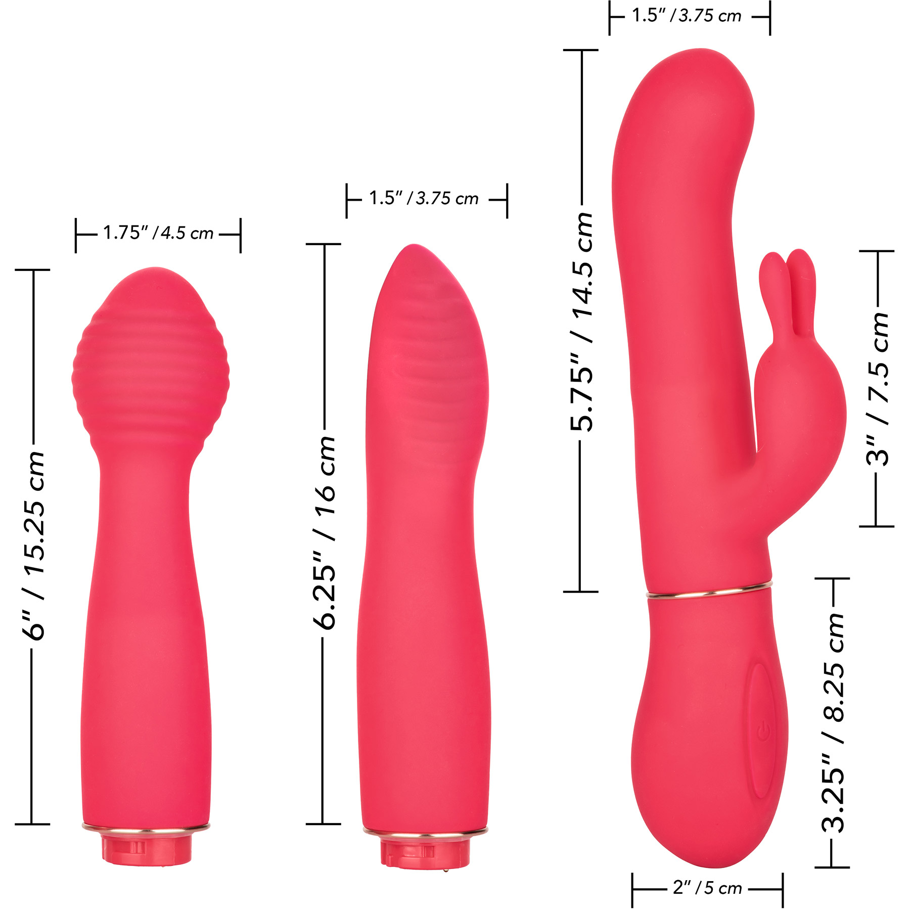 In Touch Dynamic Trio Power Base With 3 Versatile Silicone Vibrating Attachments - Measurements