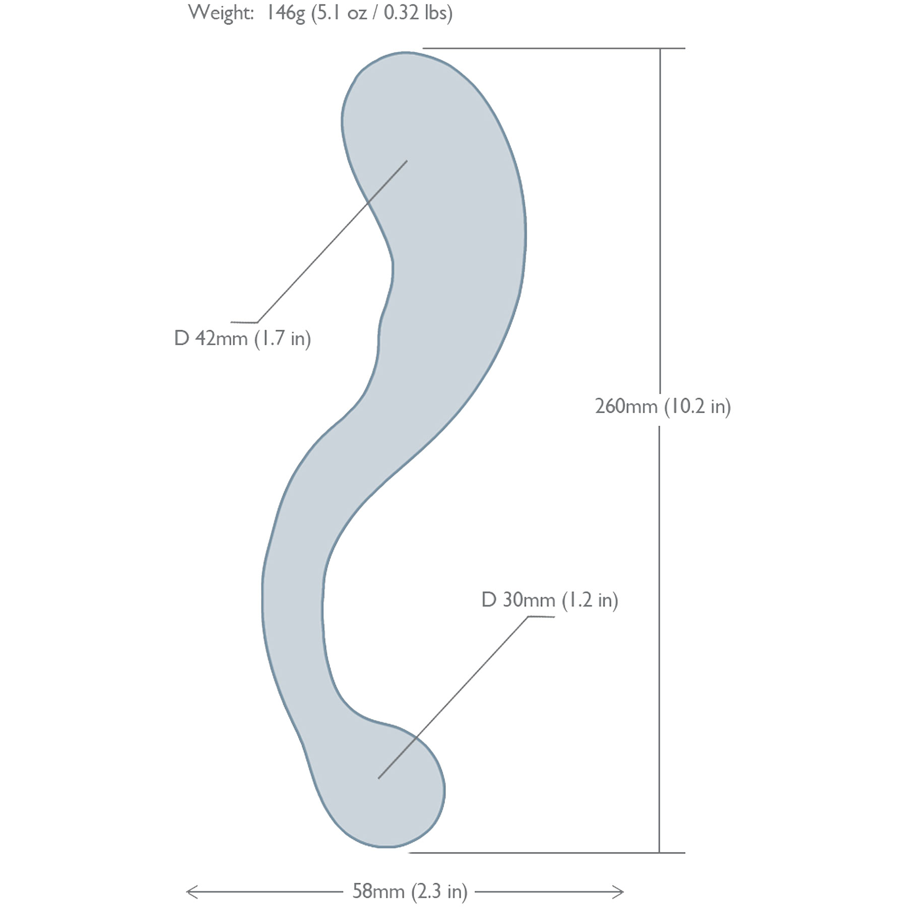 NobEssence Seduction 2.0 Sculptured Hardwood G-Spot Dildo - Measurements