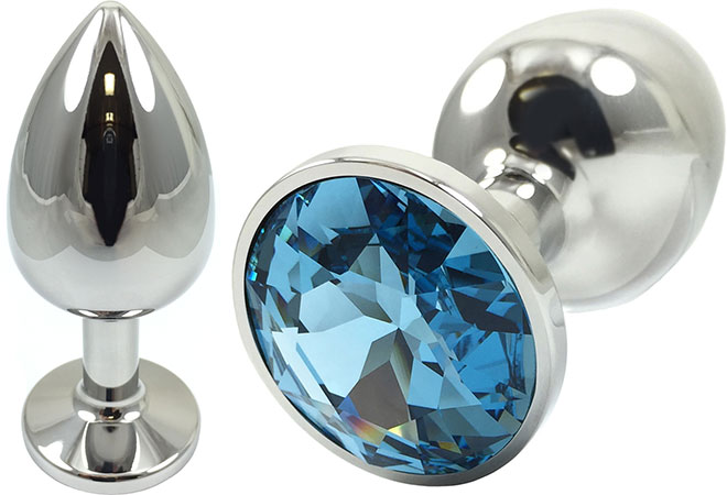 Pretty Plugs Blue Crystal And Stainless Steel Anal Toy - Small