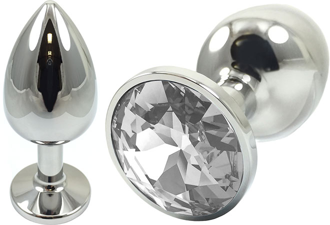 Pretty Plugs Clear Crystal And Stainless Steel Anal Toy - Small