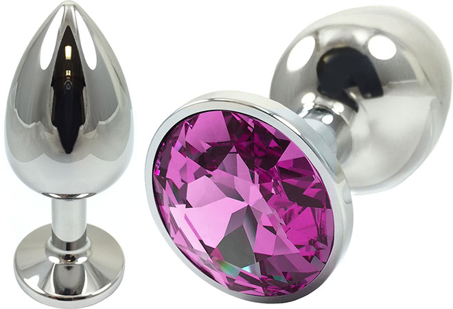 Pretty Plugs Fuchsia Crystal And Stainless Steel Anal Toy - Small
