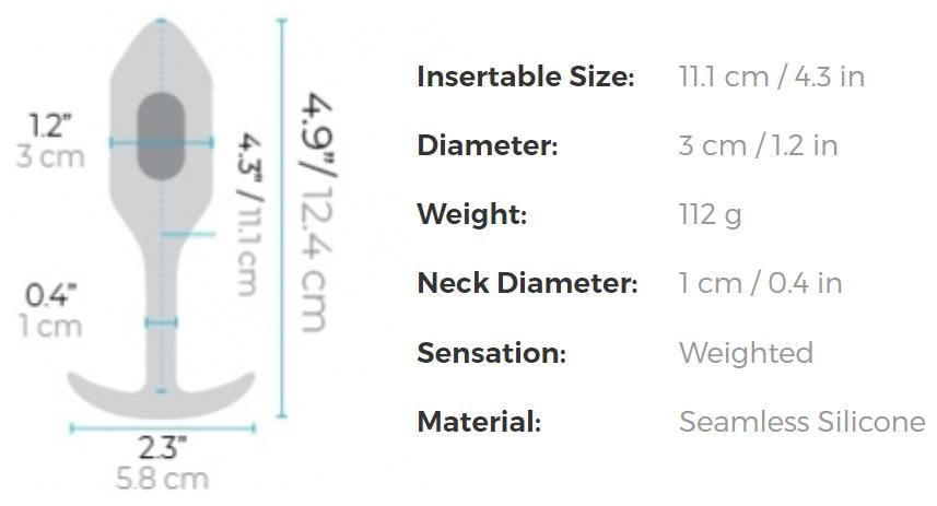 b-Vibe Vibrating Snug Plug Medium Rechargeable Vibrating Anal Toy - Measurements