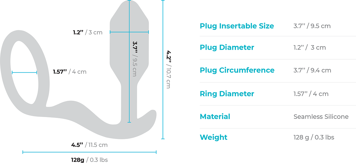 b-Vibe Snug & Tug Weighted Silicone Plug & Penis-Ring - Measurements