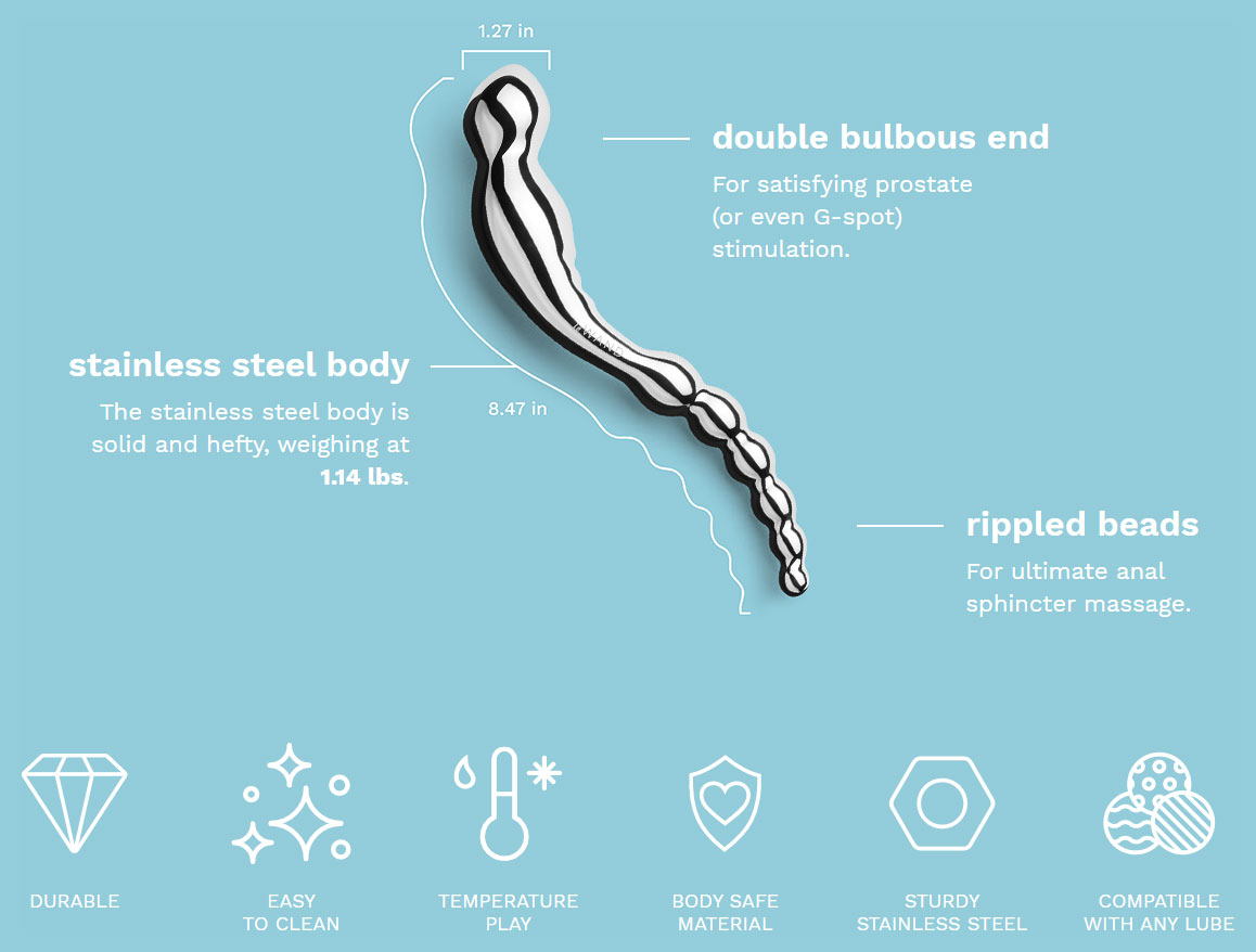 Le Wand Arch Solid Stainless Steel, Double-Sided Dildo - Features