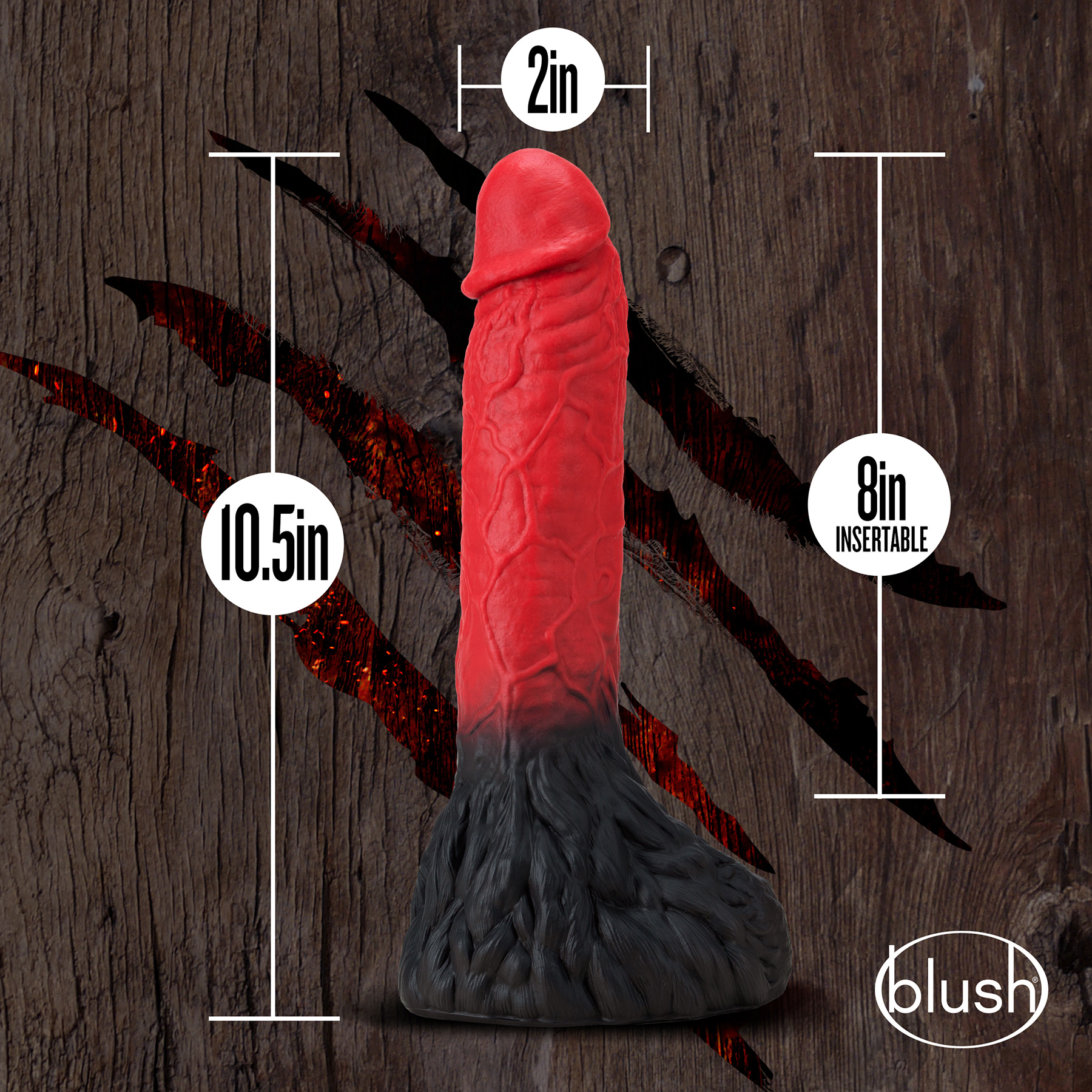 The Realm Lycan Silicone Lock On & Harness Compatible Werewolf Dildo - Measurements