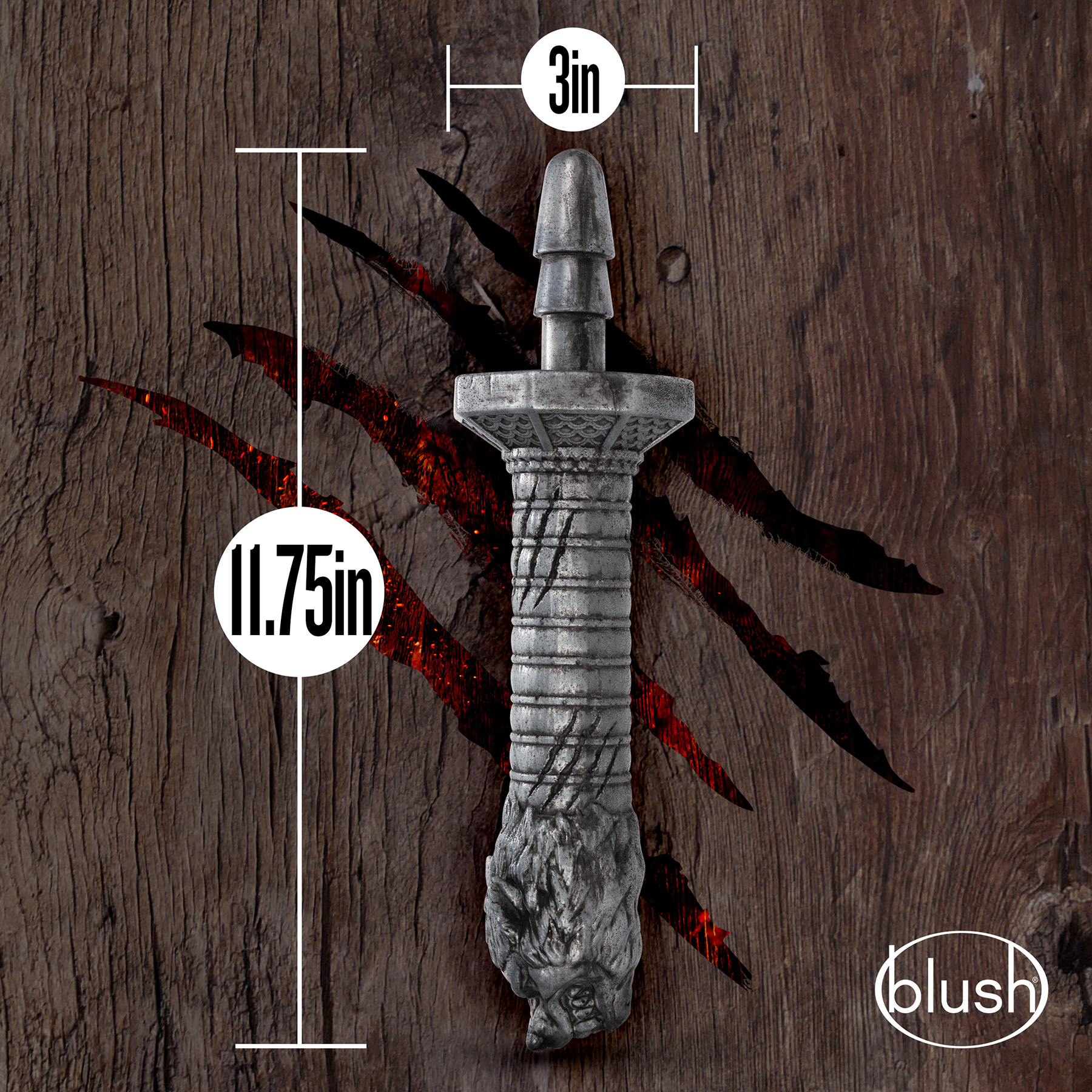 The Realm Rougarou Lock On Werewolf Sword Dildo Handle - Measurements