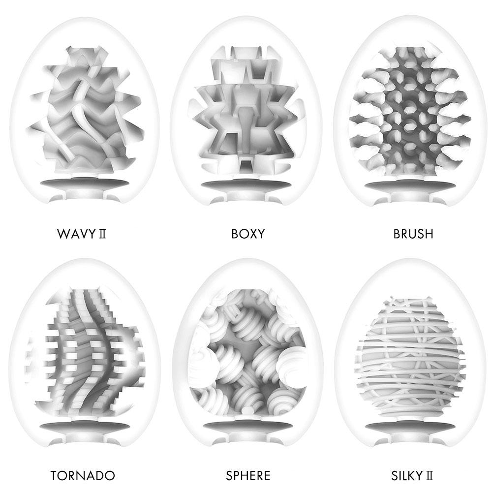 Tenga EGG Penis Masturbator Variety Six Pack - New Standard Edition - Interior View For Each Egg
