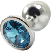 Pretty Plugs Aqua Crystal And Stainless Steel Butt Plug - Medium
