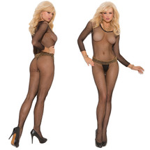 Elegant Moments Seamless Fishnet Long Sleeve Open Crotch Bodystocking