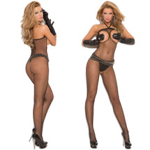 Elegant Moments Seamless Fishnet Halter Bodystocking
