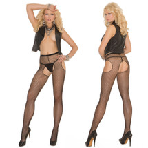 Elegant Moments Fishnet Suspender Pantyhose