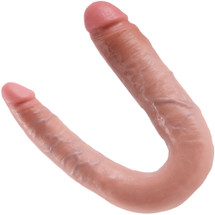 King Cock U-Shaped Large Double Trouble Dildo - Vanilla