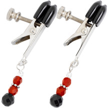 Spartacus Broad Tip Beaded Nipple Clamps - Red