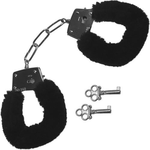 Sex & Mischief Furry Handcuffs By Sportsheets - Black
